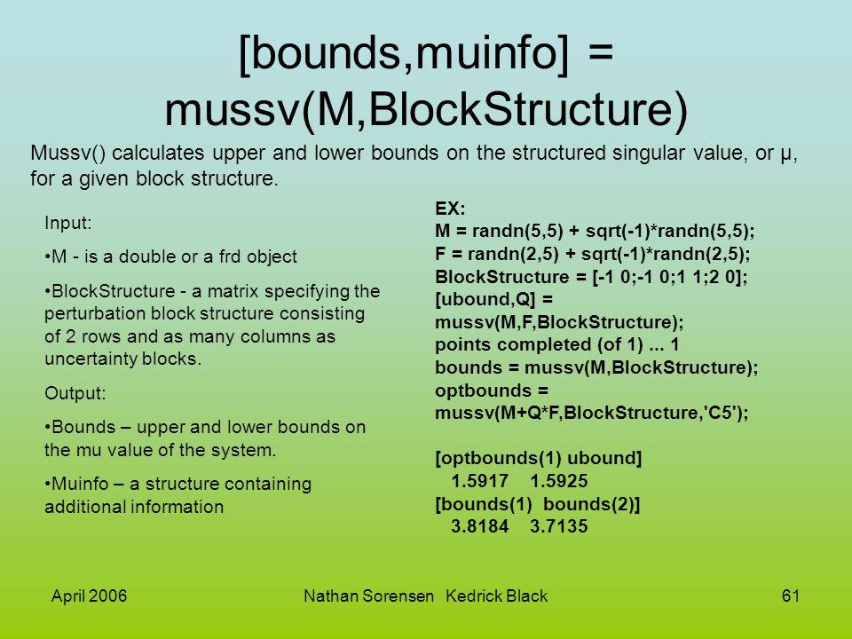 [bounds,muinfo] = mussv(M,BlockStructure)
